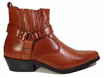 Men's Brown Synthetic Leather Western Cowboy Boots Buckle Ankle High Cheap New - Cheap Mens Cowboy Boots