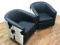 New Pair Of Luxurious Black Leather Cow Hide Tub Chairs