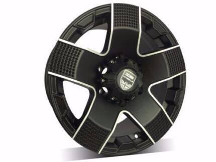 1x New 16x8 5/150 4WD BLACK Wheels For 5 STUD Landcruiser