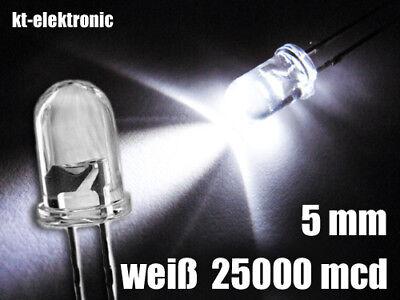 10 Stück LED 5mm weiß ultrahell 25000mcd Mcd Led