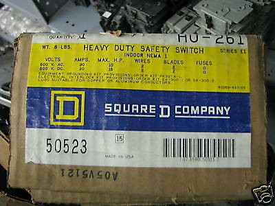 Square D Hu261 Series E 30 Amp 600 Volt 2p2w Disconnect - New