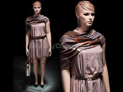 Plus Size Female Fiberglass Mannequin With Molded Hair Dress Form Mz-avis1