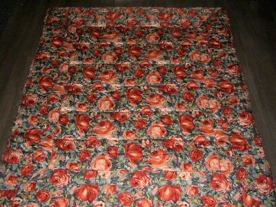 Vintage 50s orange grey green reversible rose chintz print quilted bed quilt