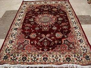 Mid Night Red Love Flowers Rectangle Area Rug Hand Knotted Wool Silk Carpet (6 x 4)'