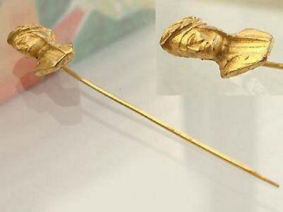 Caesarenkopf Anstecknadel Silber 925 vergoldet massive Silbernadel Gold