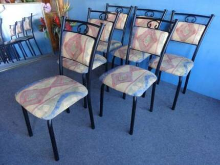 6 DINING CHAIRS OUTDOOR DECK BLACK WROUGHT IRON & METAL MODERN