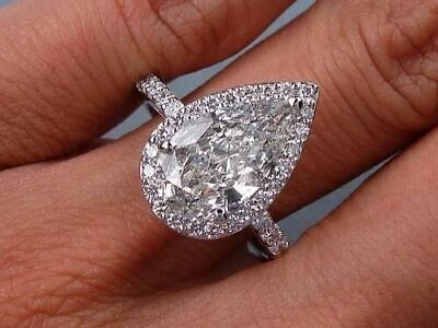 Lovely 2.50 Ct Pear Cut Diamond Halo Engagement Ring F,SI1 GIA Certified 14KG
