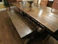 Rustic Harvest Table BRAND NEW & Bench(es)