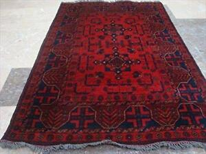 Excellent Designed Afghan Khal Muhamadi Rectangle Area Rug Hand Knotted Wool Carpet (4.11 x 3.4)'