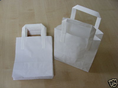 10 WHITE PAPER CARRIER BAGS WITH FLAT HANDLES 7 X 8.5 INCHES