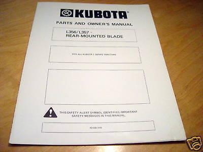Kubota L356 L357 Rear Blade Operators Parts Manual For L Series Tractors
