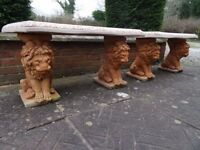 Pair Fine Georgian Style White & Marigold Stone Lion Garden Bow Fronted Benches