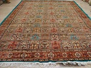 Exclusive Bakhtiar Floral Blocks Fine Area Rug Hand Knotted Wool Silk Carpet (10 X 7)'