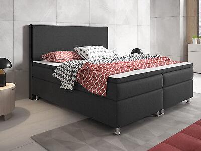 Boxspringbett King Size XL Hotelbett Designerbett 180x200 cm Webstoff Anthrazit