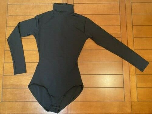 Capezio TB123 Long Sleeve Turtleneck Leotard w/ Snaps - Medium - Black