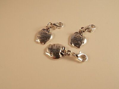 BEST NO. 1 TEACHER Apple charm clip on lobster clasp for charm