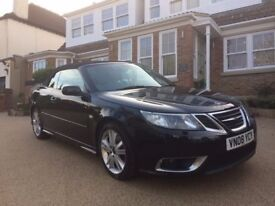 SAAB 9-3 CONVERTIBLE AERO TTID (BEST ENGINE - CHECK REVIEWS) CREAM LEATHER, BLACK PAINTWORK, LOW MIL