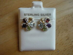 Sterling Silver 18kt(Yellow) Gold Plated Diamond & Gemstone set