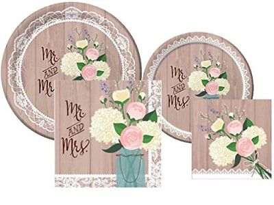 Rustic Wedding Bridal Shower Plates and Napkins Deluxe Party Pack for 16](Wedding Shower Plates And Napkins)