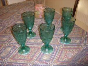 6 WINE-GLASSES-SHOOTERS-GREEN-GOBLETS, Wine-Glass-Mint