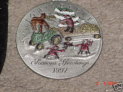 1997 JOHN DEERE #2 PEWTER CHRISTMAS ORNAMENT 970945