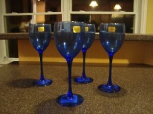 Pretty Blue  French Wine Glasses New $5