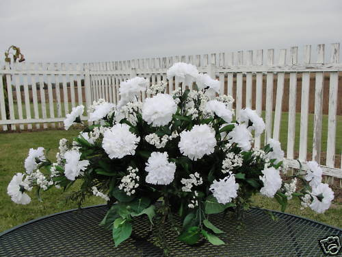 Fall Cemetery Memorial Flowers White Carnations Babys Breath Funeral Silk Floral