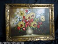 Large Oil On Canvas Vivid Red Poppies, Japonicas & White Daisies Flowers Signed