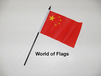 "CHINA SMALL HAND WAVING FLAG 6"" x 4"" Chinese Asia Craft Table Desk Display"