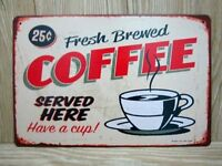 8 x 12 inch Fresh Brewed Coffee Diner Inspired Tin Wall Sign