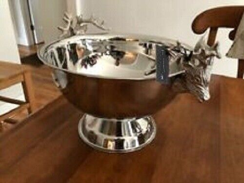 Pottery Barn Stag Antler Footed Serving Bowl Silver Large Deer Ice Bucket Cooler