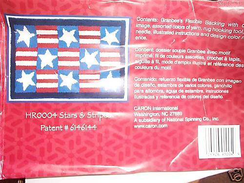 STARS AND STRIPES, BY CARON RUG HOOK KIT WITH YARNS-CLASSIC