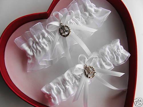 Country Girl Wedding Garter SET White ON White - Prom