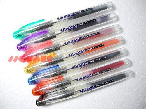 7 Colours Set Platinum Preppy 0.3mm Fine Refillable Fountain Pen, Made in Japan