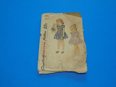 Vintage 1940s Sewing Pattern Girls Dress Size 4 Simplicity 2196