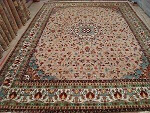 Rectangle Rug Floral Medallion kasha Multicolored Hand Knotted Wool Silk Carpet (10 x 14)'