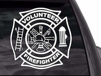 Volunteer Firefighter Decal (FGD Volunteer Firefighter White Decal 12