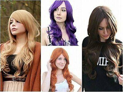 Prettyland lange-Haar Damen-Perücke gewellt Locke Braun Blond Violett - Rot Orange Perücke