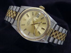 Rolex Datejust Mens 2 Tone 18K Gold Stainless Steel Jubilee