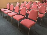 Banqueting style chairs, x47 plus 12 with arms, Pink