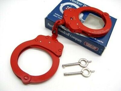 Peerless 4712r Red Finish 750 Chain Link Police Handcuffs 2 Keys