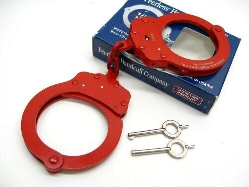 Peerless 4712R Red Finish 750 Chain Link Police Handcuffs + 2 Keys