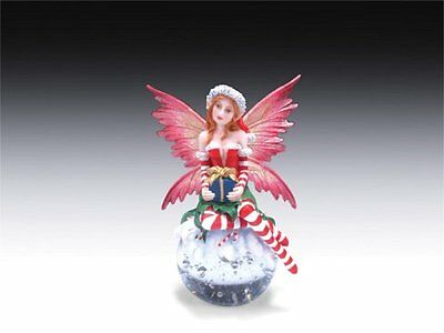 Holiday Christmas Fairy Sitting on Glass Ball Figurine