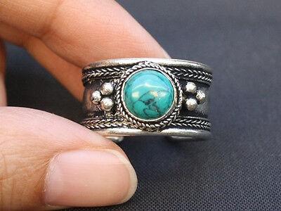 b85b7f340b7b4 Large Adjustable Tibetan Big Round Turquoise Gemstone Weaving Dotted Amulet  Ring