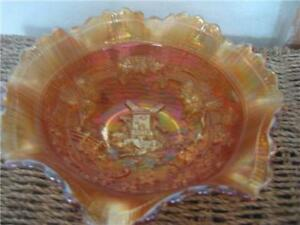 IMPERIAL MERIGOLD CARNIVAL GLASS WINDMILL RUFFLED BOWL