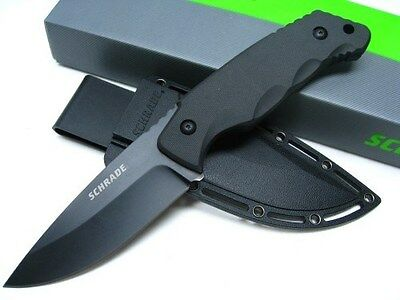 SCHRADE Tactical Black FULL TANG Straight Fixed Survival Knife + Sheath! SCHF49