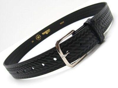 "BOSTON LEATHER Black Basketweave OFF DUTY Value Line Belt Size 36""! 6606-3-36"