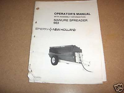 New Holland 663 Flail Manure Spreader Owners Maintenance Manual