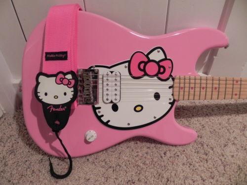 hello kitty electric guitar ebay. Black Bedroom Furniture Sets. Home Design Ideas