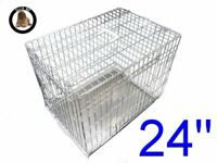 Ellie-Bo Dog Puppy Cage Folding 2 Door Crate with Non-Chew Metal Tray Small 24-inch Silver